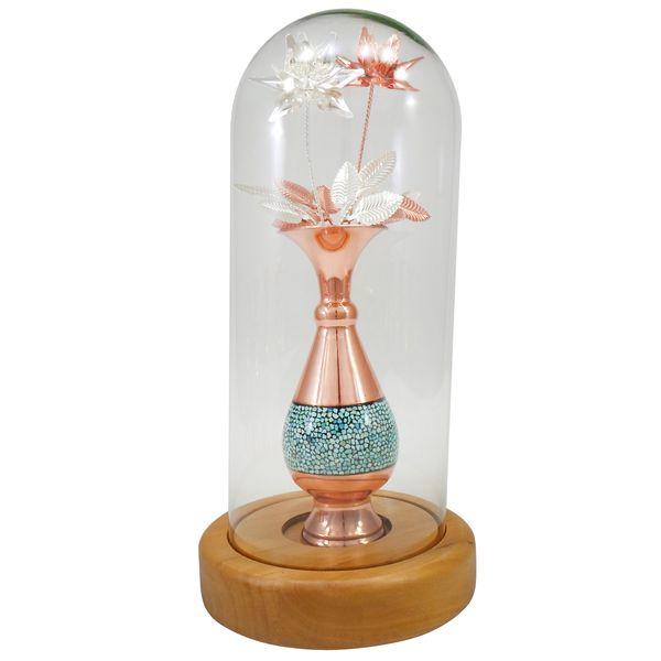 گلدان فیروزه کوبی سلام مدل حبابی کد 16 به همراه گل