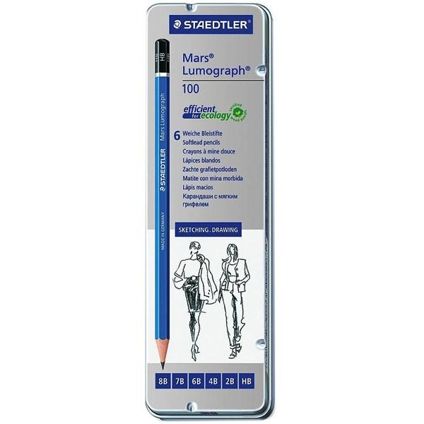 مداد طراحی استدلر مدل Mars Lumograph 100 - بسته 6 عددی