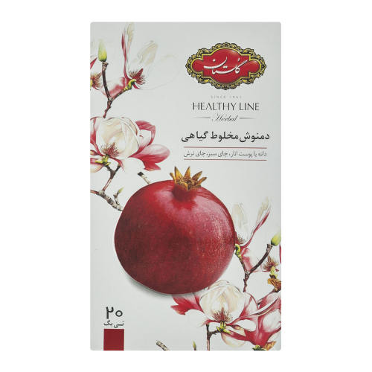دمنوش کیسه ای مخلوط گیاهی گلستان با طعم انار بسته 20 عددی
