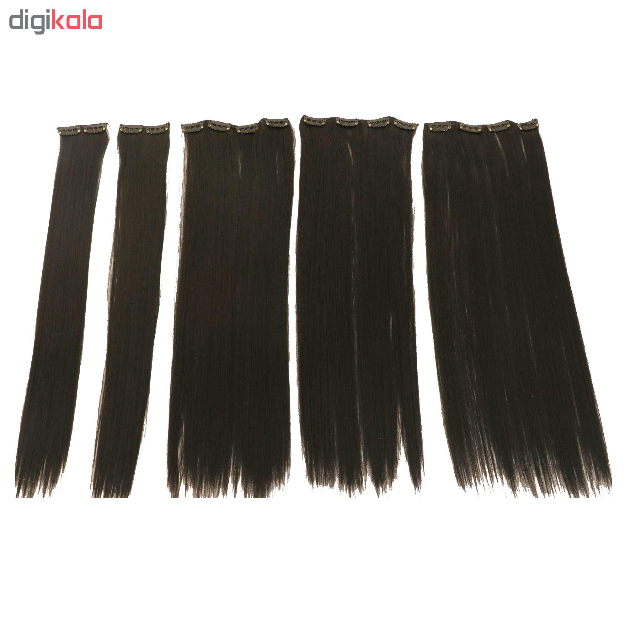 اکستنشن کلیپسی مو پوش دار رنگ مشکی طبیعی مدل 3041c-2