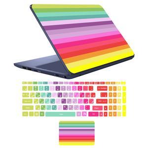 استیکر لپ تاپ مدل رنگین کمان مناسب برای لپ تاپ 17 اینچ به همراه برچسب حروف فارسی کیبورد