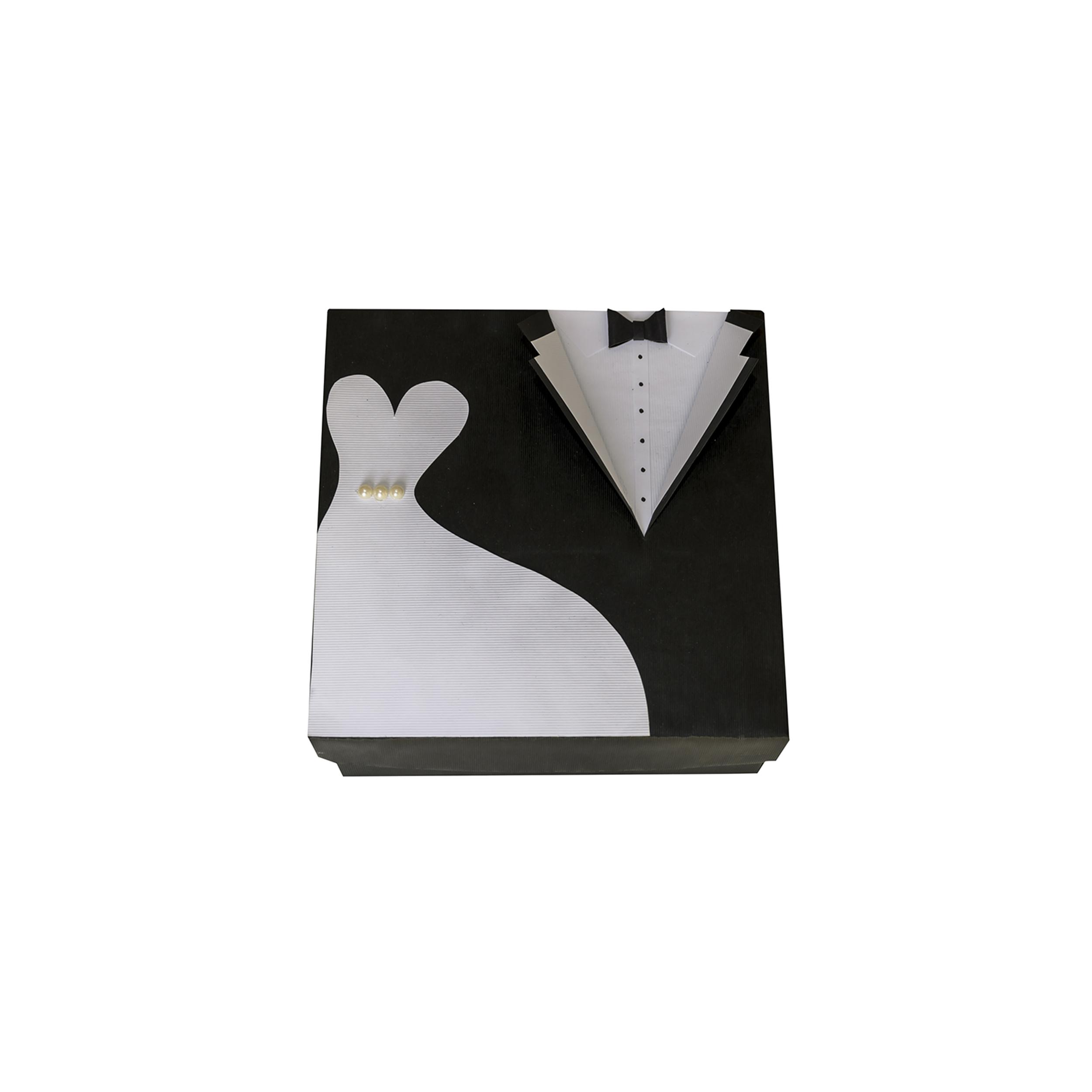 عکس جعبه هدیه طرح لباس عروس و داماد سایز بزرگ