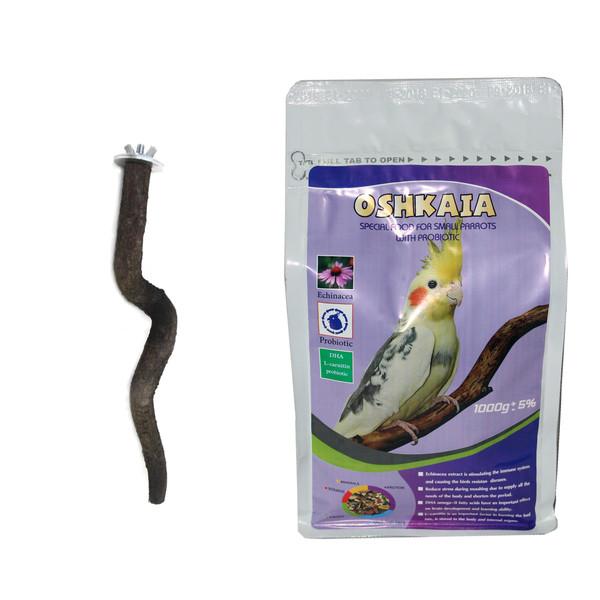 غذای خشک طوطی سانان کوچک اوشکایا کد 204 مقدار 1 کیلوگرم به همراه چوب نشیمنگاه طبیعی هدیه