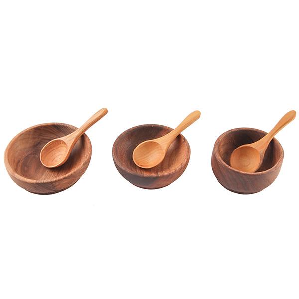 کاسه و پیمانه چوبی گیل چو مجموعه سه عددی کد 217020