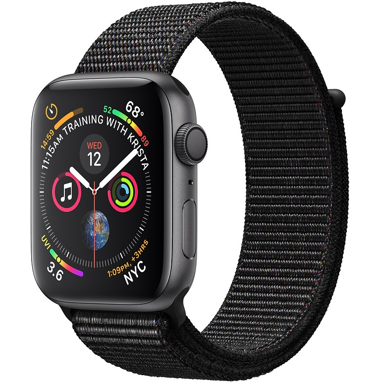 خرید ساعت هوشمند اپل واچ 4 مدل 44mm Space Gray Aluminum Case with Black Sport Loop Band