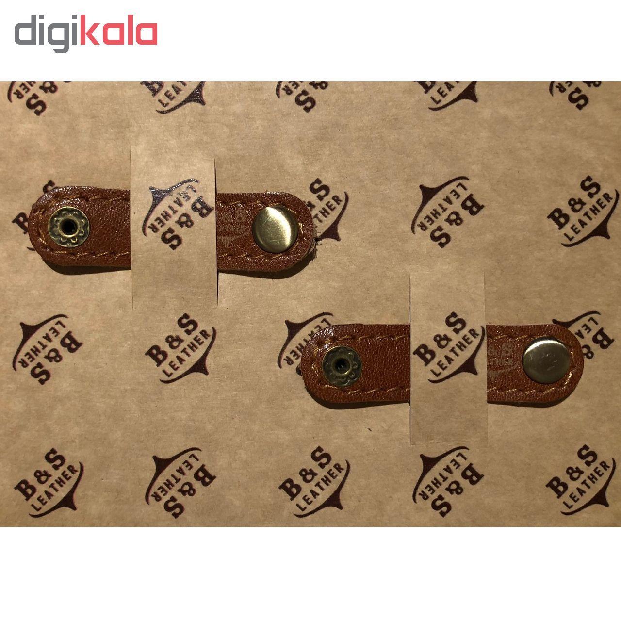 نگهدارنده کابل هندزفری و شارژ چرم طبیعی – دست دوز مدل EA بسته 2 عددی رنگ عسلی B&S Leather main 1 1