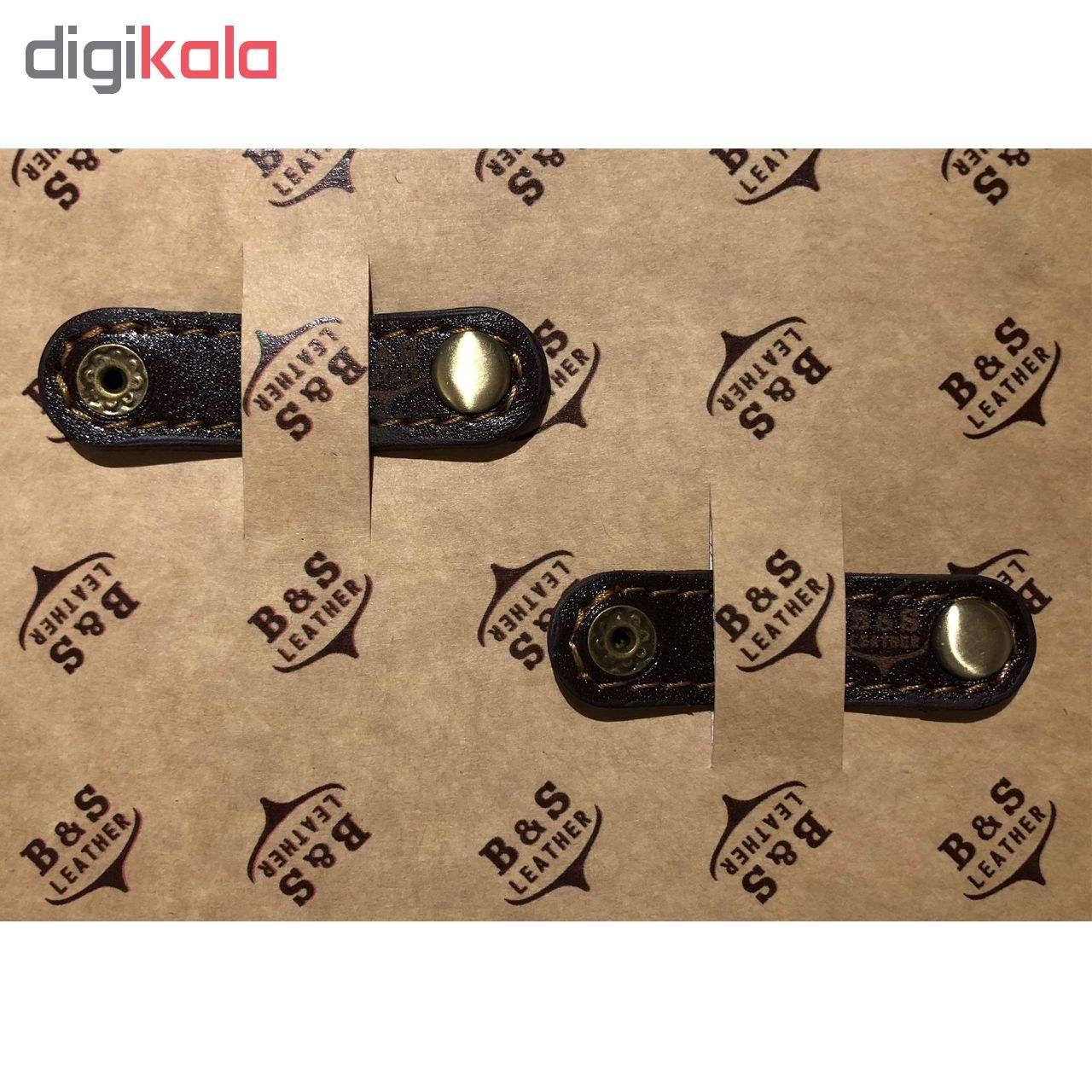 نگهدارنده کابل هندزفری و شارژ چرم طبیعی – دست دوز مدل EG بسته 2 عددی رنگ قهوه ای B&S Leather  main 1 1