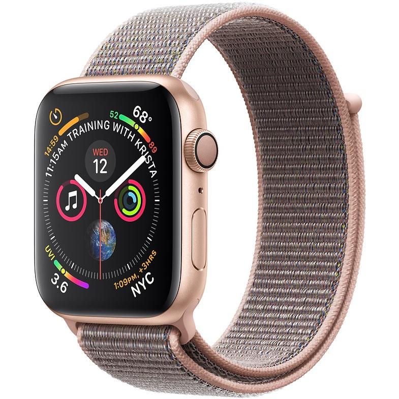 ساعت هوشمند اپل واچ 4 مدل 44mm Gold Aluminum Case with Pink Sand Sport Loop Band