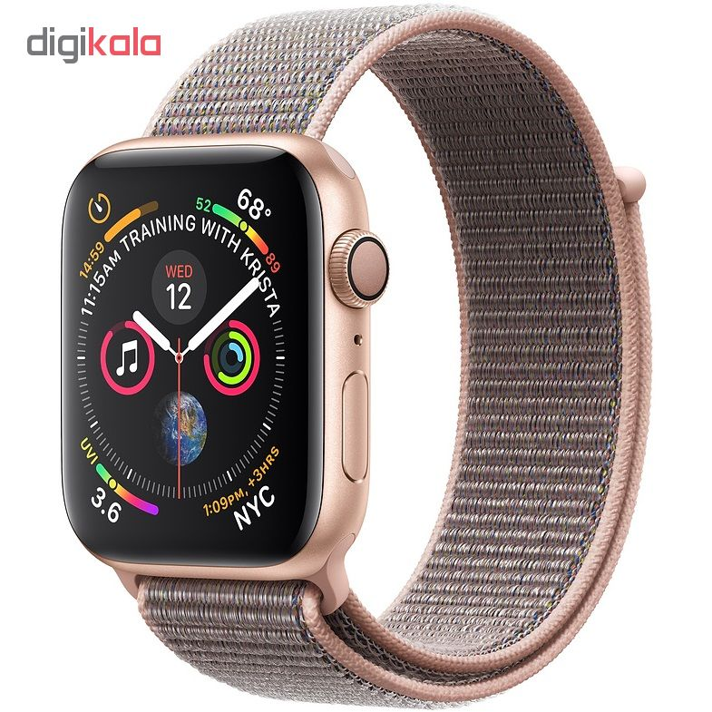 ساعت هوشمند اپل واچ 4 مدل 44mm Gold Aluminum Case with Pink Sand Sport Loop Band