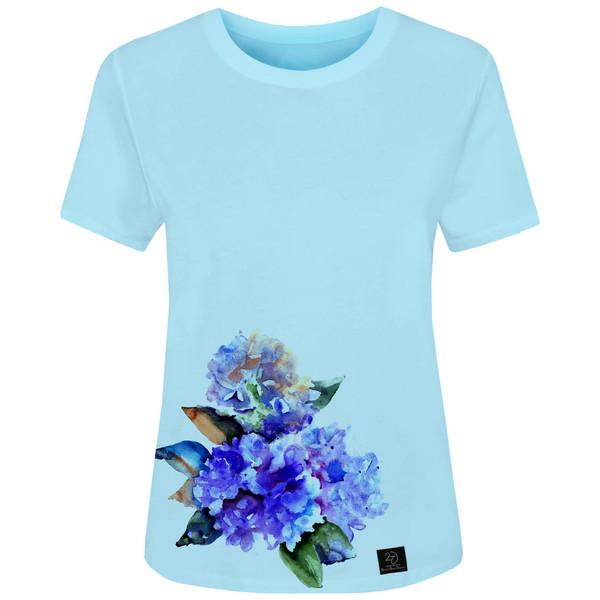 تی شرت زنانه 27 مدل گل کد H21 رنگ آبی