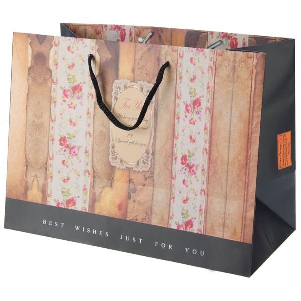 پاکت هدیه افقی جیحون مدل For You طرح گل های ریز 1 سایز بزرگ