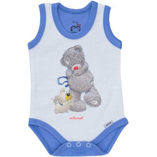 لباس زیر دکمه دار نوزادی آدمک طرح خرس پشمالو آبی