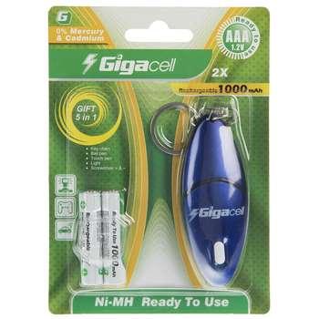 باتری نیم قلمی قابل شارژ گیگاسل مدل 1000mAh بسته 2 عددی