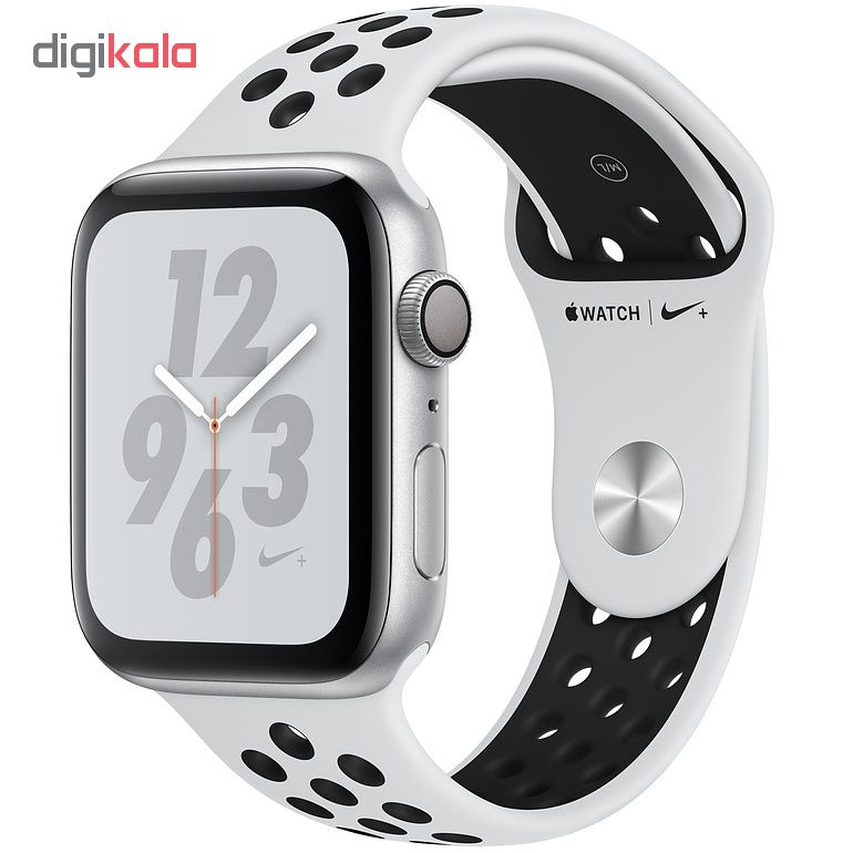 خرید ساعت هوشمند اپل واچ 4 مدل Nike 44mm Silver Aluminum Case with Pure Platinum/Black Nike Sport Band