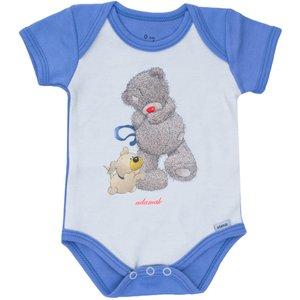 زیردکمه دار آستین کوتاه آدمک طرح خرس پشمالو آبی