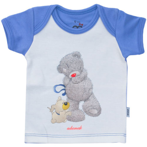 تیشرت آستین کوتاه آدمک طرح خرس پشمالو آبی