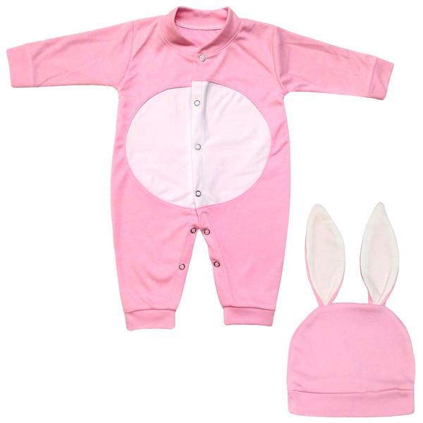 ست سرهمی و کلاه نوزادی دخترانه طرح خرگوش کد M340