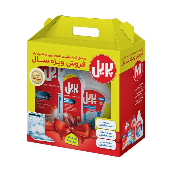 شوینده ماشین ظرفشویی پریل مجموعه سه عددی حاوی پودر و نمک و مایع براق کننده