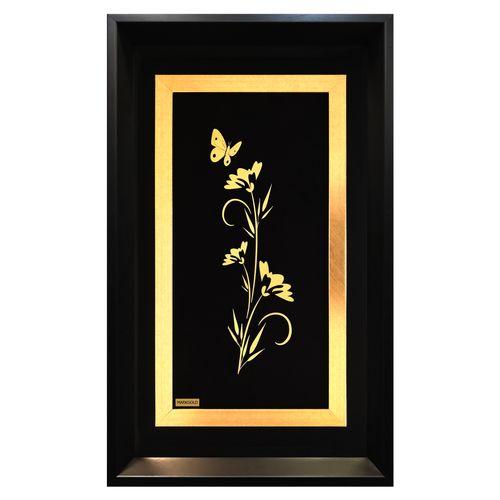 تابلو طلاکوب مارک گلد طرح گل و پروانه کدTGPS004