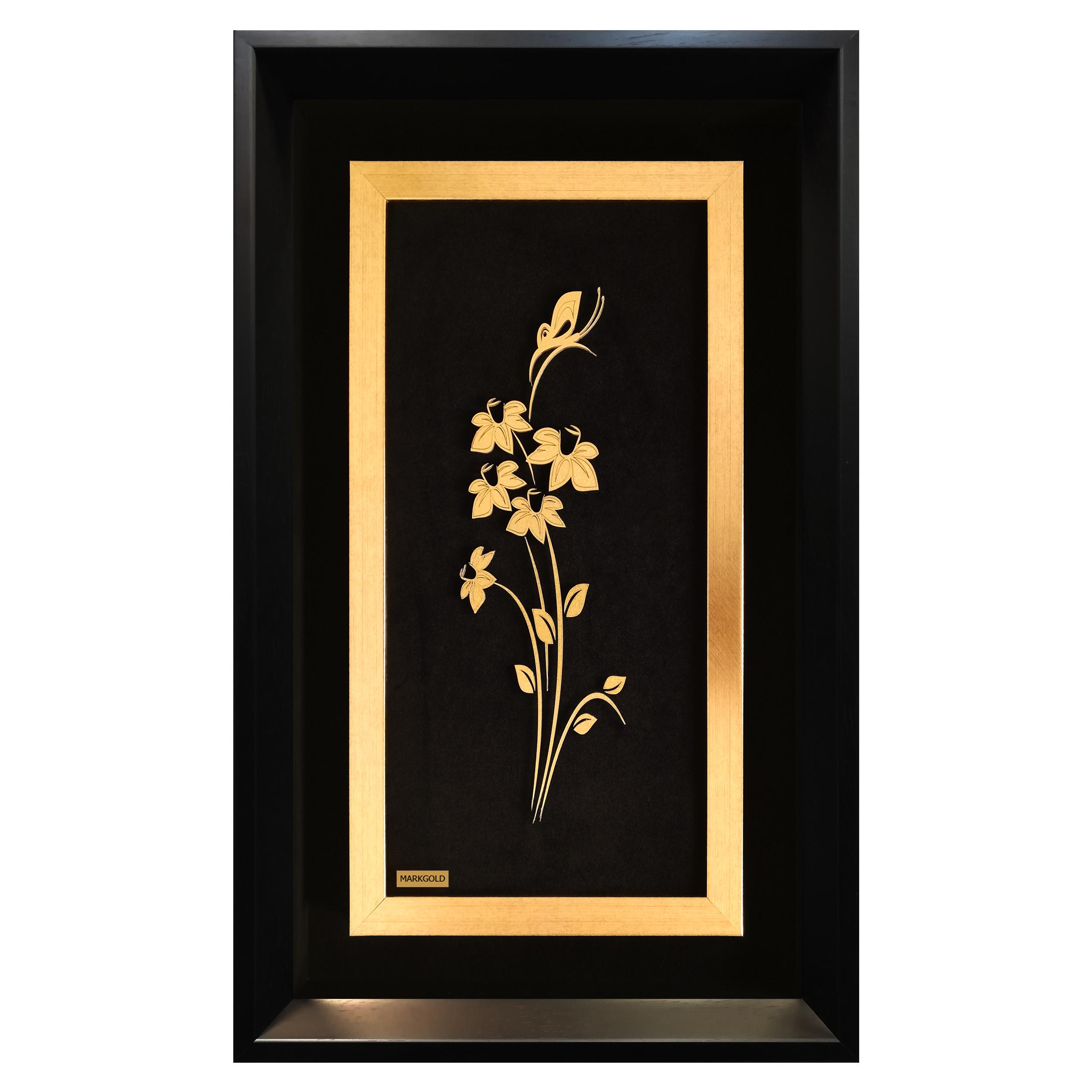 تابلو طلاکوب مارک گلد طرح گل و پروانه کد TGPS008