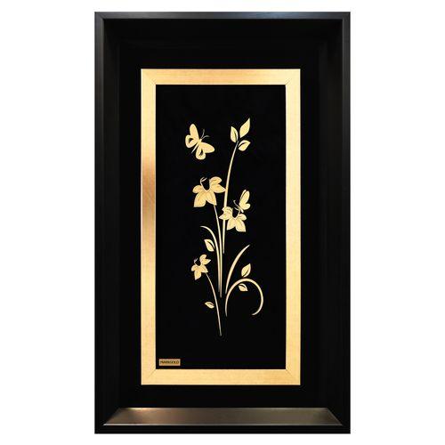 تابلو طلاکوب مارک گلد طرح گل و پروانه کد TGPS011