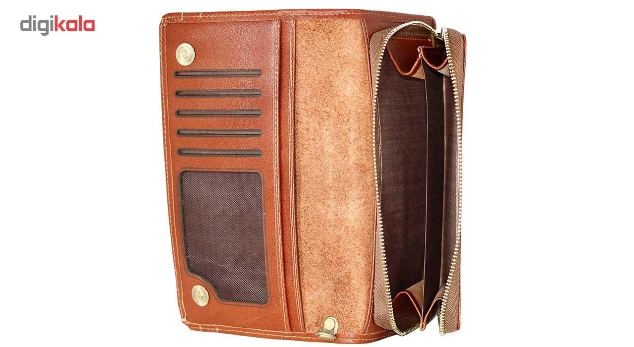 کیف پول پالتویی چرم طبیعی چهارنظم مدل 15020BrF