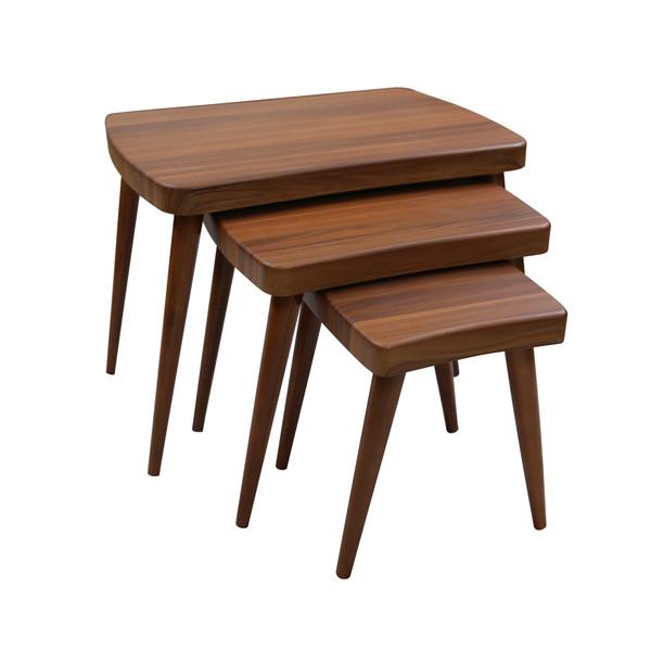 میز عسلی ویانا مدل کلاسیک کد 117GHB مجموعه 3 عددی