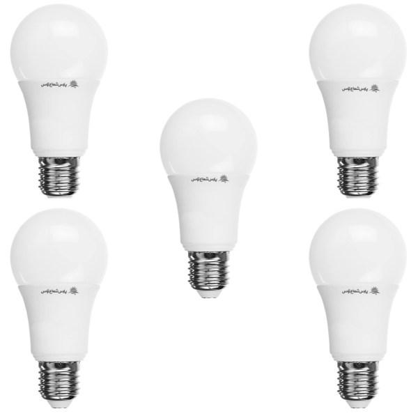 لامپ ال ای دی 12 وات پارس شعاع توس پایه E27 بسته 5 عددی