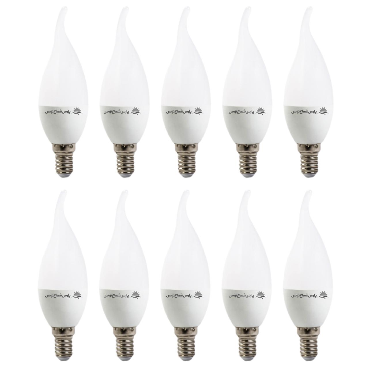 لامپ ال ای دی 7 وات پارس شعاع توس پایه E27 بسته 10 عددی