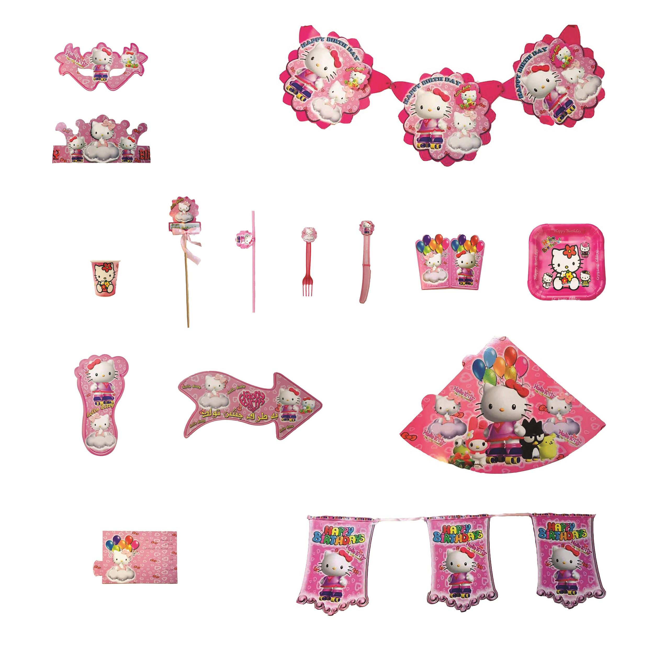 عکس پک تم تولد مدل تم Hello Kitty بیست نفره 180 تکه
