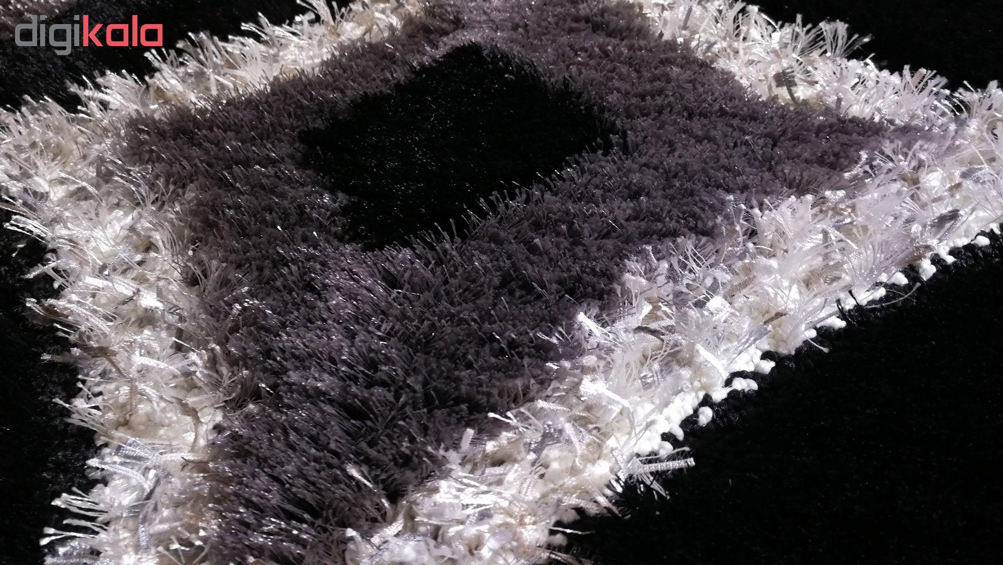فرش ماشینی پرز بلند ترک مدل پلاتین مشکی