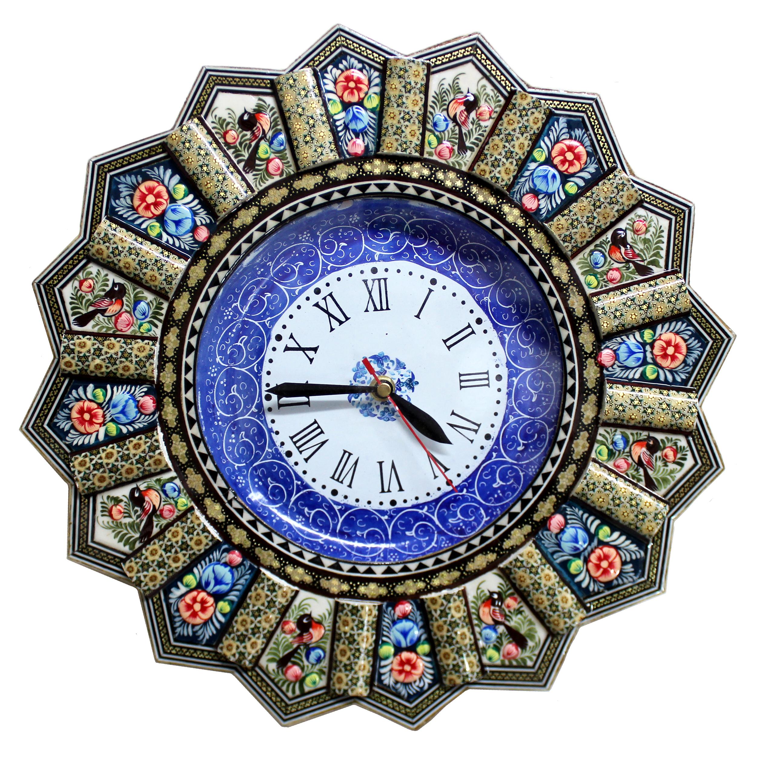 ساعت دیواری خاتم کاری گالری دست نگار مدل خورشیدی کد 01-28