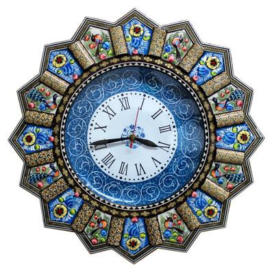 Photo of ساعت دیواری خاتم کاری گالری دست نگار مدل خورشیدی کد 02-28