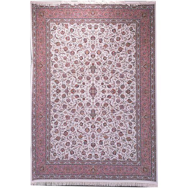 فرش ماشینی زمرد مشهد طرح افشان 45000 کرم صورتی 1500شانه