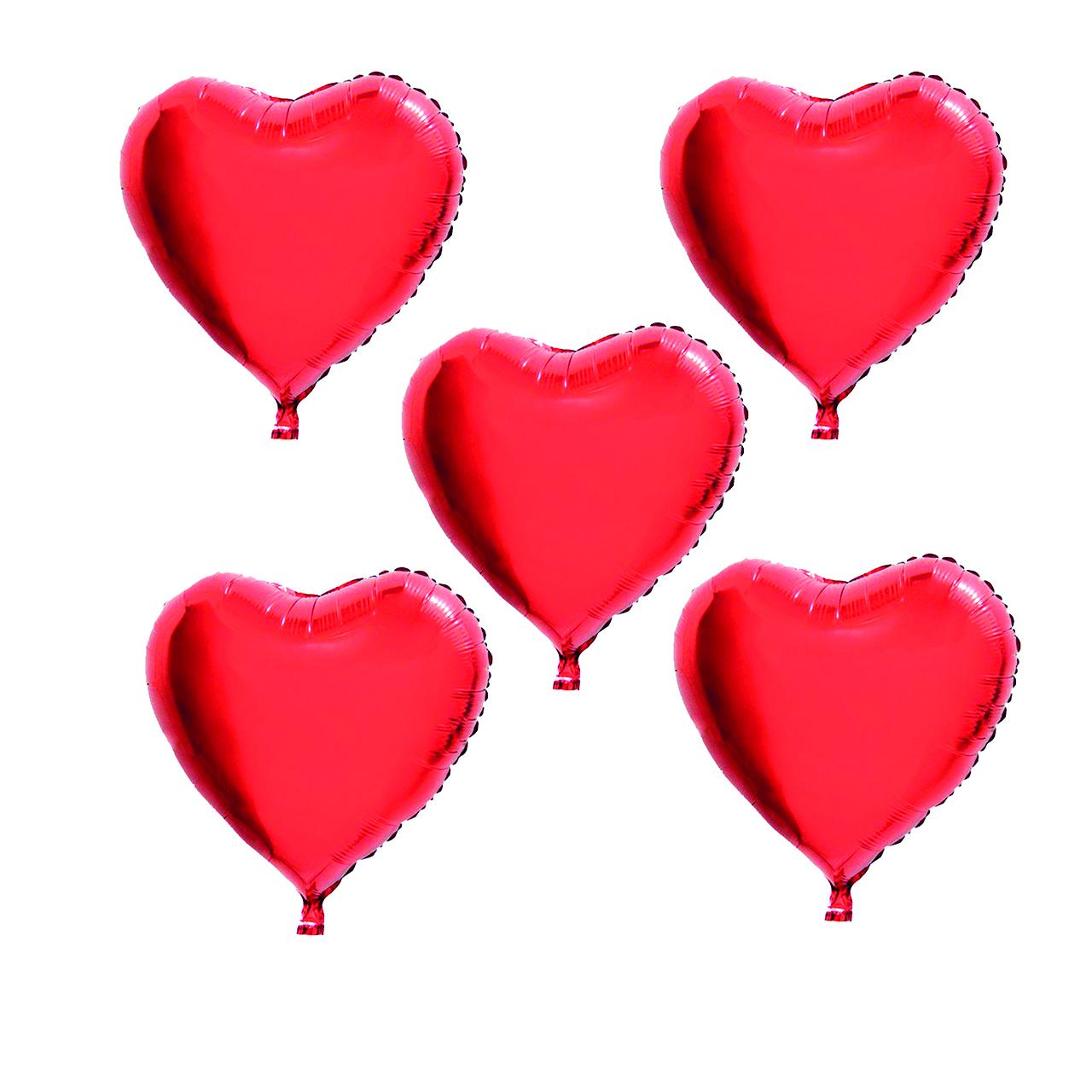 بادکنک فویلی هپی بری طرح قلب ساده بسته 5 عددی