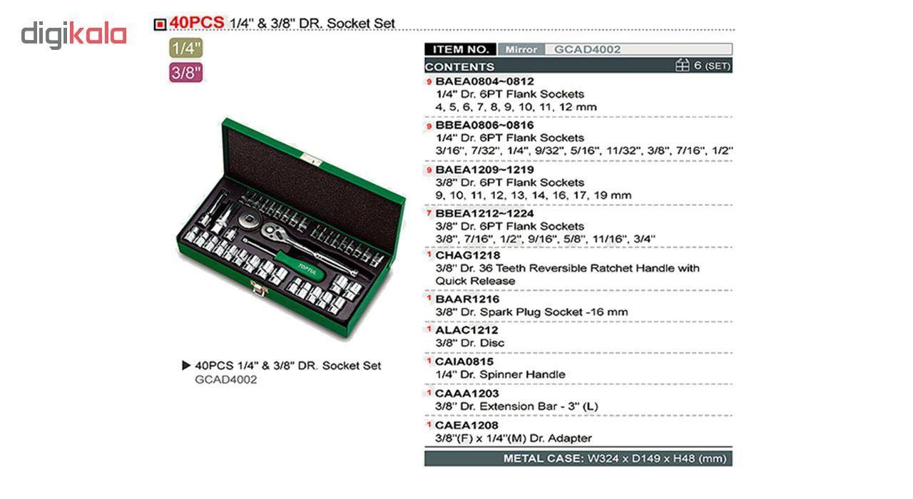 آچار بکس تاپ تول مدل GCAD4002 مجموعه 40 عددی main 1 2