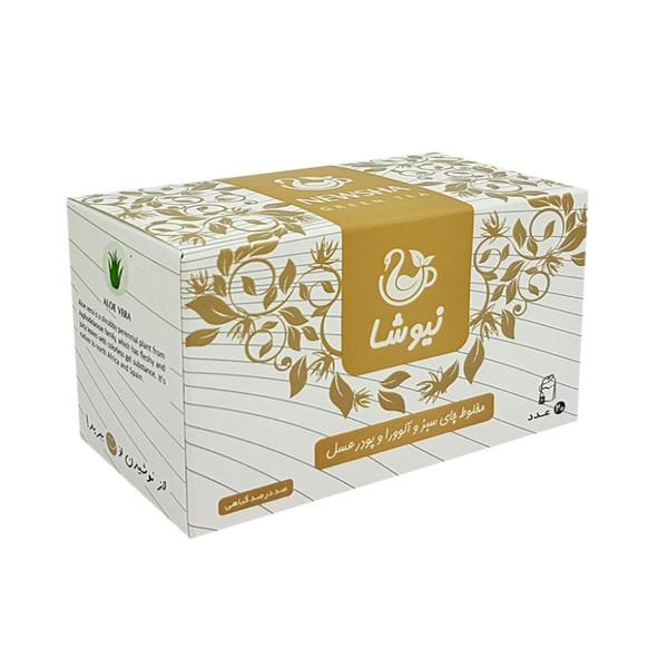 چای سبز و آلوورا و پودر عسل نیوشا مدل Aloevera بسته 20 عددی