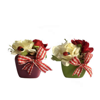 گلدان گل رز هندی  نفیس گالری بسته دو عددی