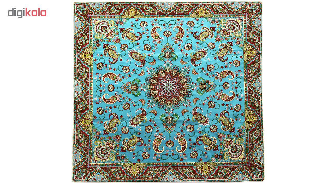 رومیزی ترمه ابریشم عدل کشمیر طرح مارال سایز 100x100 سانتی متر