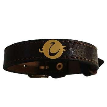 دستبند چرم و طلا 18 عیار کانیار گالری مدل DCH8