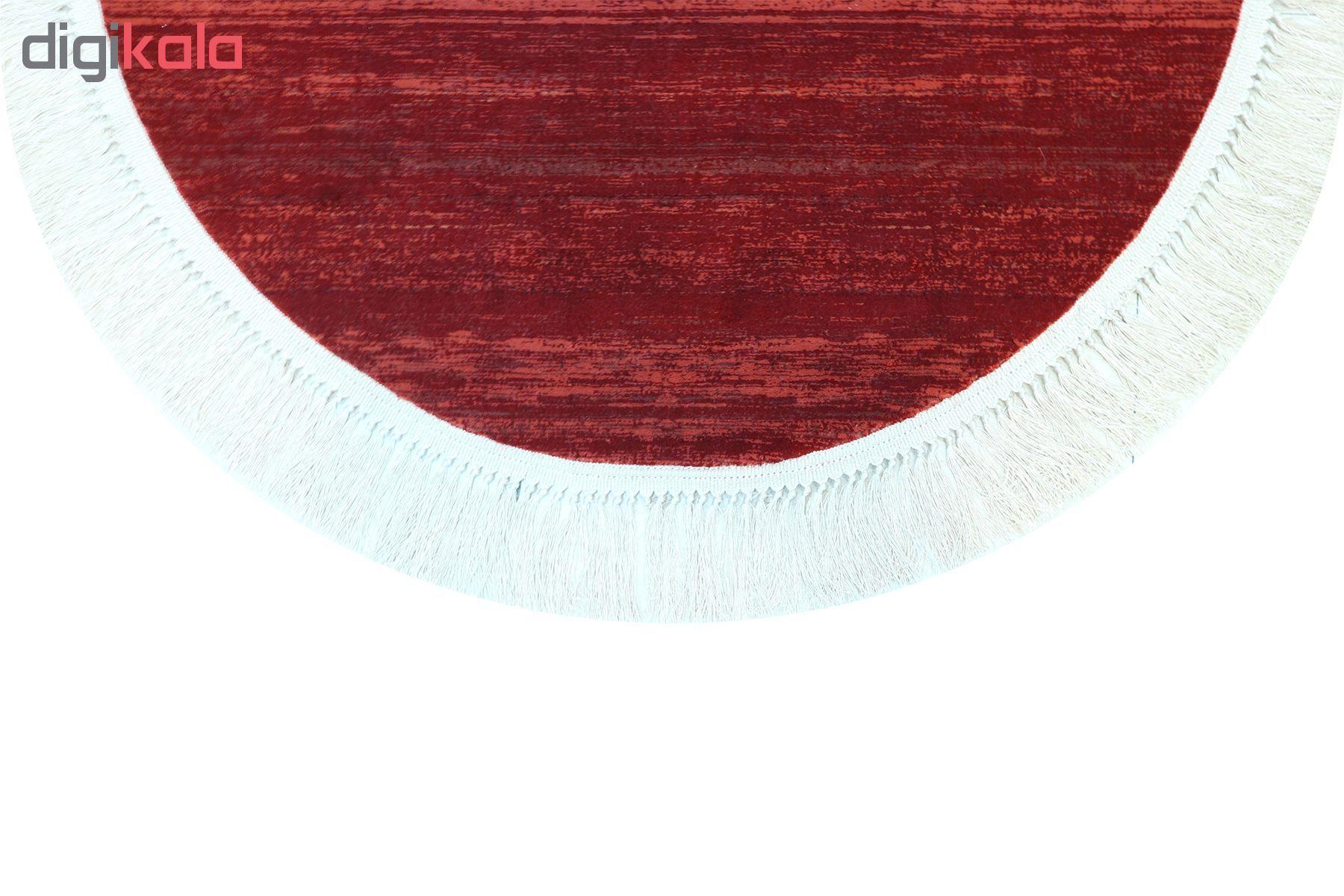 فرش ماشینی فرش رادین طرح گرد گبه 14 رنگ زمینه لاکی