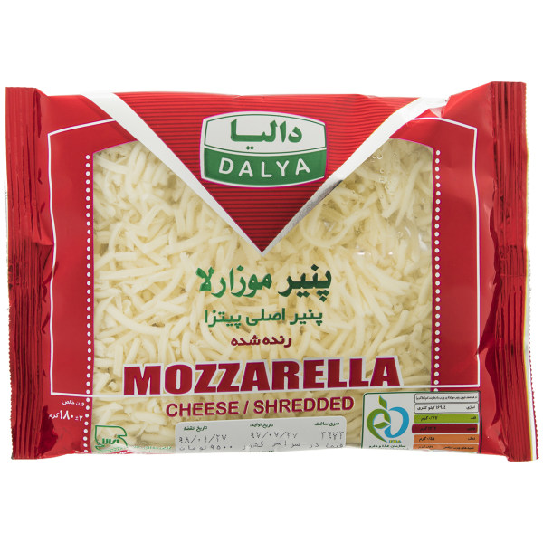 پنیر پیتزا موزارلا رنده شده پرچرب دالیا مقدار 180 گرم
