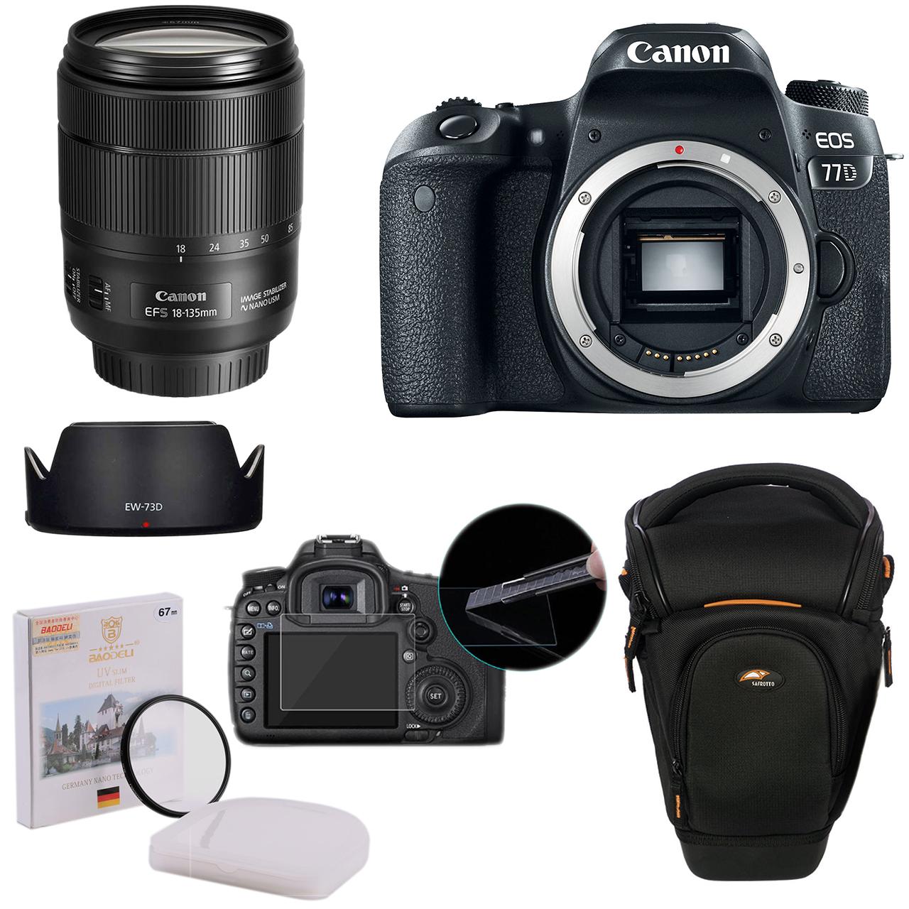 پک دوربین عکاسی کانن مدل 77D به همراه لنز 18_135 USM