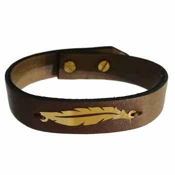 دستبند چرم و طلا 18 عیار کانیار گالری مدل DCH11
