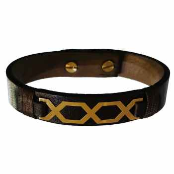 دستبند چرم و طلا 18 عیار گالری طلای کانیار مدل DCH13