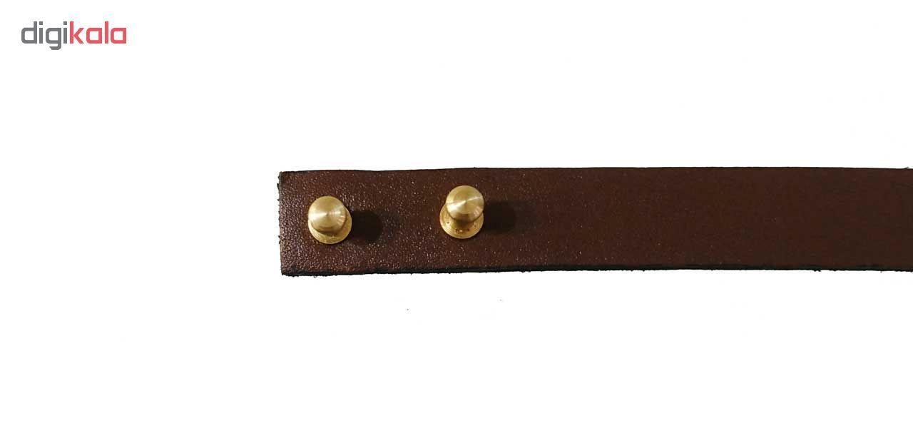دستبند چرم و طلا 18 عیار کانیار گالری مدل DCH16