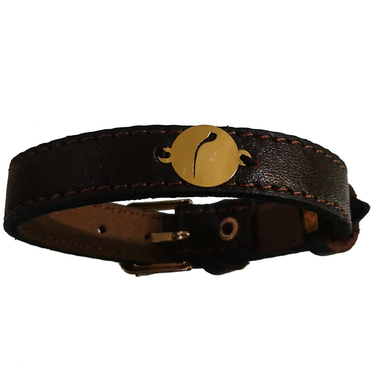 دستبند چرم و طلا 18 عیار گالری طلای کانیار مدل DCH18