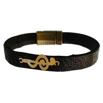 دستبند چرم و طلا 18 عیار گالری طلای کانیار مدل DCH19
