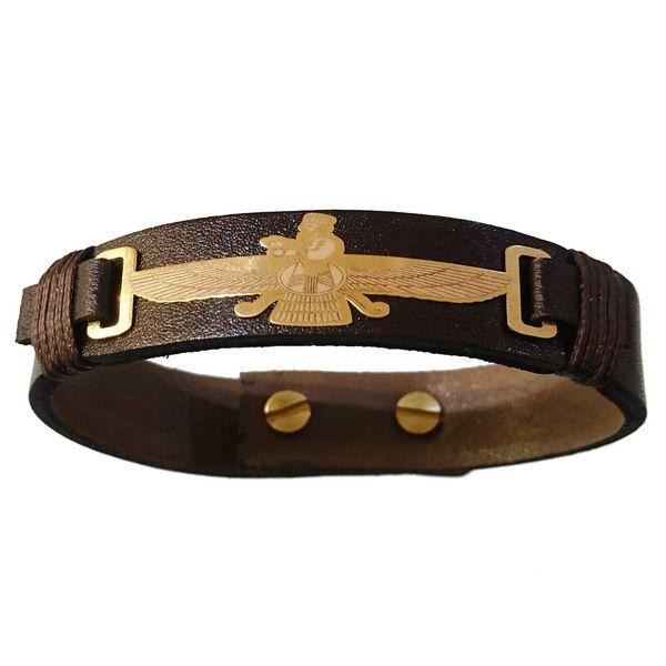 دستبند چرم و طلا 18 عیار کانیار گالری مدل DCH23