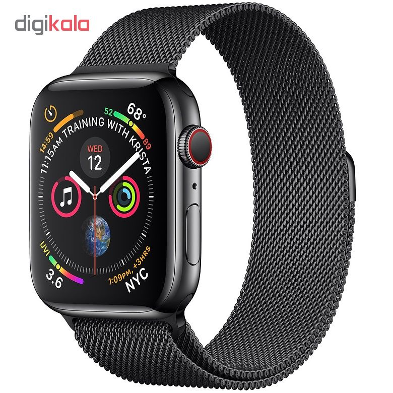 ساعت هوشمند اپل واچ سری 4 سلولار مدل 44mm Space Black Stainless Steel Case with Space Black Milanese Loop